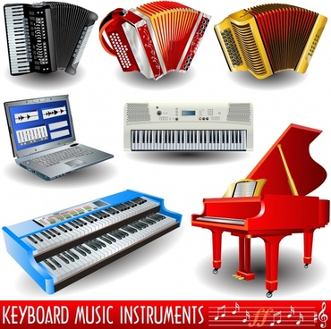 instruments design elements piano accordion laptop organ icons