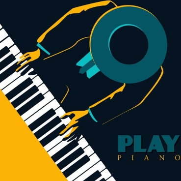 piano concert advertisement keyboard pianist icons dark design
