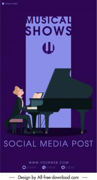 piano concert banner pianist sketch dark classic decor