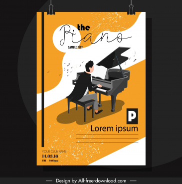 piano festive poster pianist icon colorful classical design
