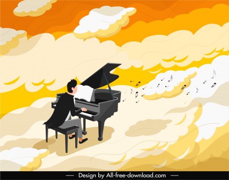piano performance painting thick clouds decor cartoon design
