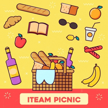 picnic background food icons colored flat design