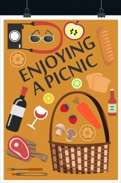 picnic banner food basket icons classical flat design
