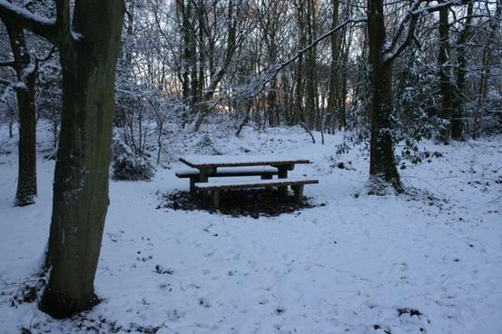 picnic bench in snow 2