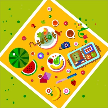 picnic concept design with food decoration from height