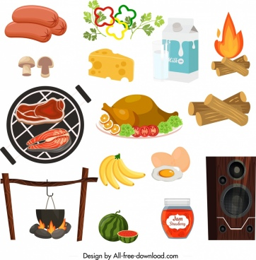 picnic design elements culinary speaker icons sketch