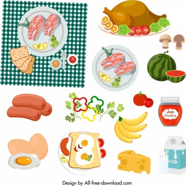 picnic design elements food icons sketch colorful design
