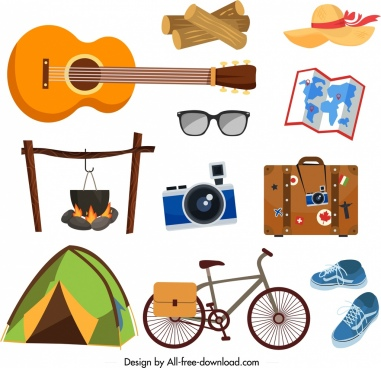 picnic design elements personal objects sketch