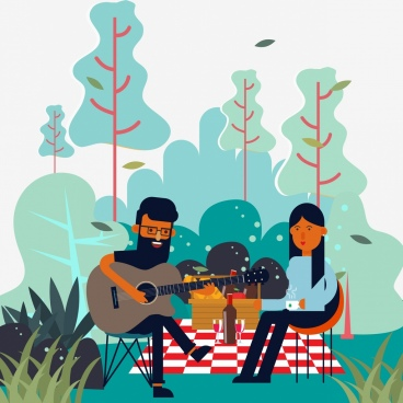 picnic drawing joyful couple guitarist icons colored cartoon