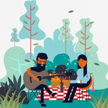 picnic drawing joyful couple guitarist icons colored cartoon