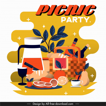 picnic party background colorful flat classic design