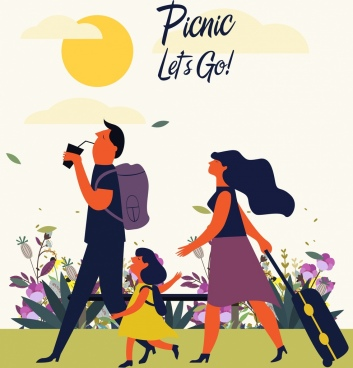 picnic poster family icon colored cartoon design