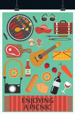 picnic poster multicolored symbols decor classical design