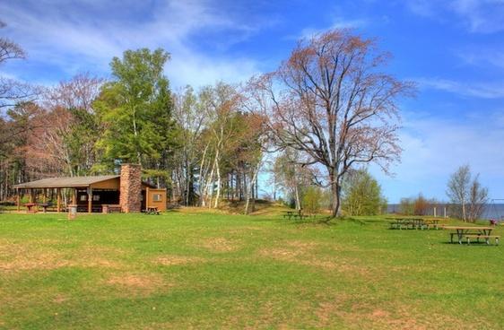 picnic shelter at mclain state park michigan