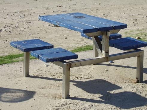 picnic table at beach