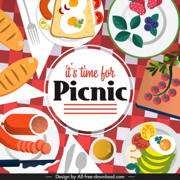 picnic time poster food sketch colorful flat design