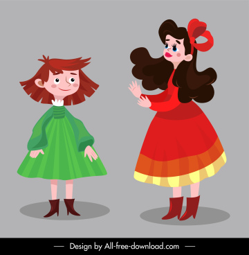 picture book characters icons colored classical cartoon sketch
