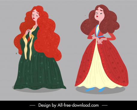 picture book characters icons young ladies sketch