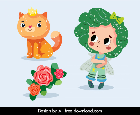 picture book icons angel cat flower bouquet sketch