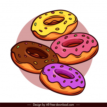 pie icons colorful classical handdrawn round shapes