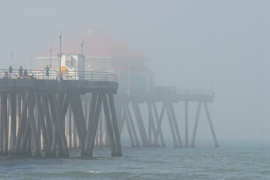 pier in the misty morning