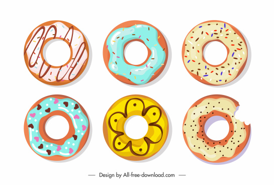 pies icons bright colorful classic flat sketch