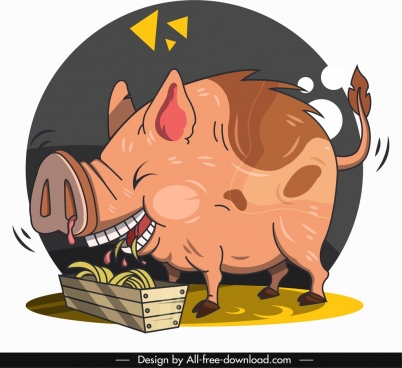 pig animal icon funny cartoon character sketch