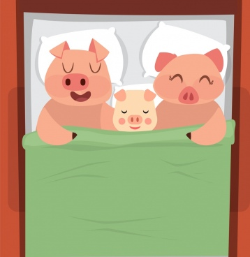 pig family painting cute cartoon characters