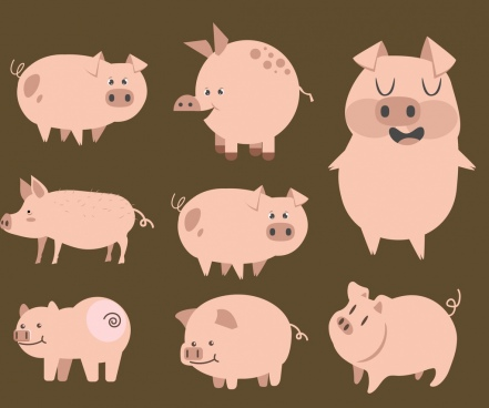 pig icons collection cute cartoon characters