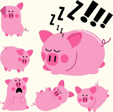 pig icons cute emotional design pink decor