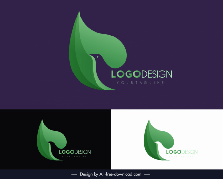 pigeon logotype green abstract silhouette decor