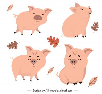 piggy icons lovely handdrawn cartoon sketch