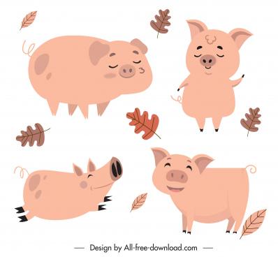 piglet icons cute cartoon design handdrawn classic