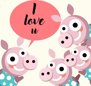 pigs background cute funny icons