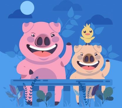 pigs background cute stylized cartoon characters