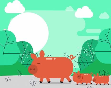 pigs painting multicolored classical design