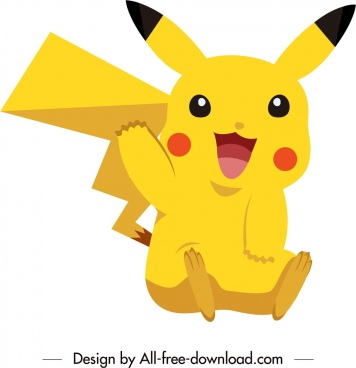 pikachu cartoon character icon cute yellow sketch
