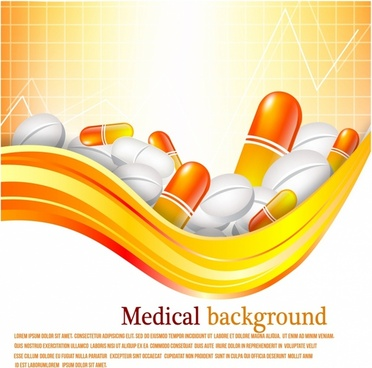 Pills and tablets on orange background