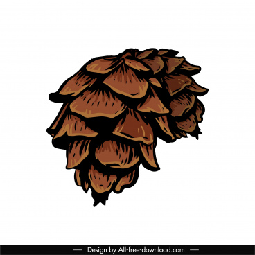 pine cone design element husk sketch classic handdrawn