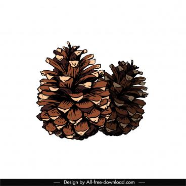 pine cone icon classical handdrawn sketch