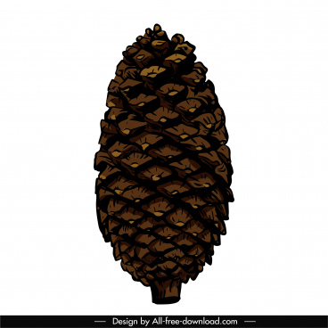 pine cone icon colored vintage handdrawn design