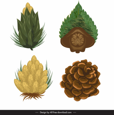 pine cone icons colored classic design