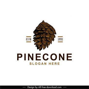 pine cone logo template classical handdrawn sketch