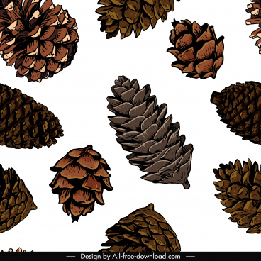 pine cone pattern template bright handdrawn classic design