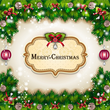 pine needles frame christmas background