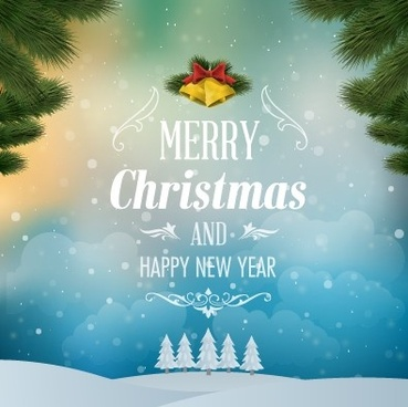 pine needles with bell christmas background vector