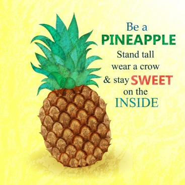 pineapple advertisement colorful flat design retro style