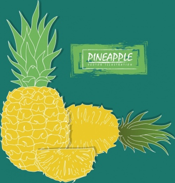 pineapple advertisement yellow slice icon handdrawn design