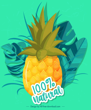 pineapple advertising banner colorful classical decor