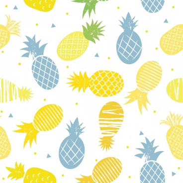 pineapple background colored flat design repeating style
